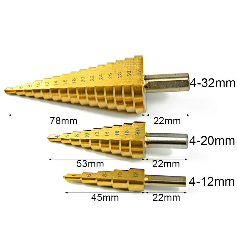 Combo 3 bộ khoan Vòng rãnh thẳng 4-32 4-20 4-12